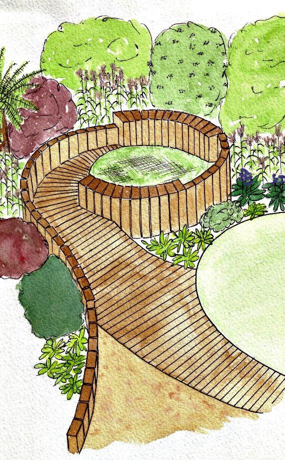 An artistic impression for an original garden feature